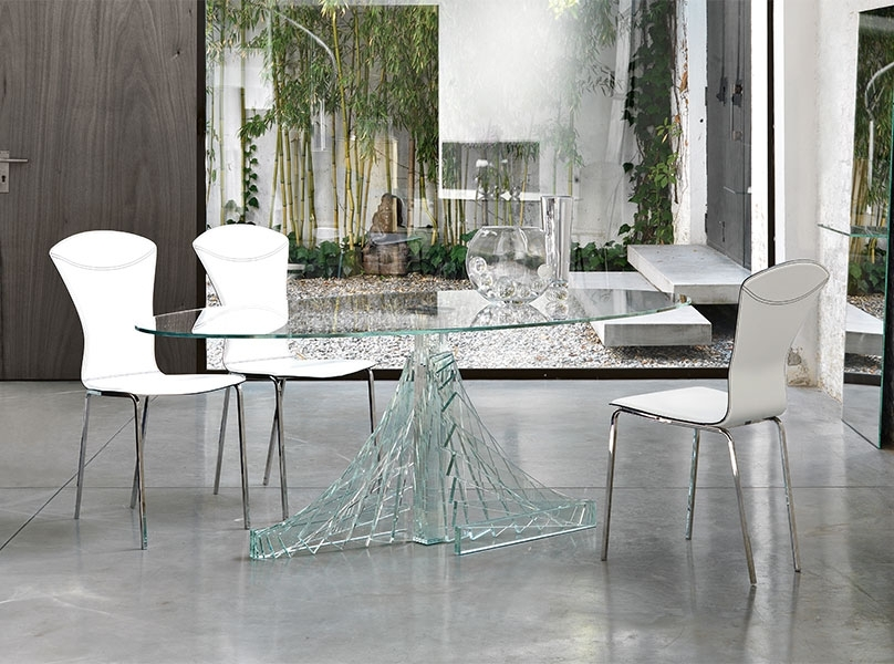 2017 Enhance Your Kitchen With Some Best Glass Dining Room Sets Intended For Glass Dining Tables White Chairs (View 15 of 20)
