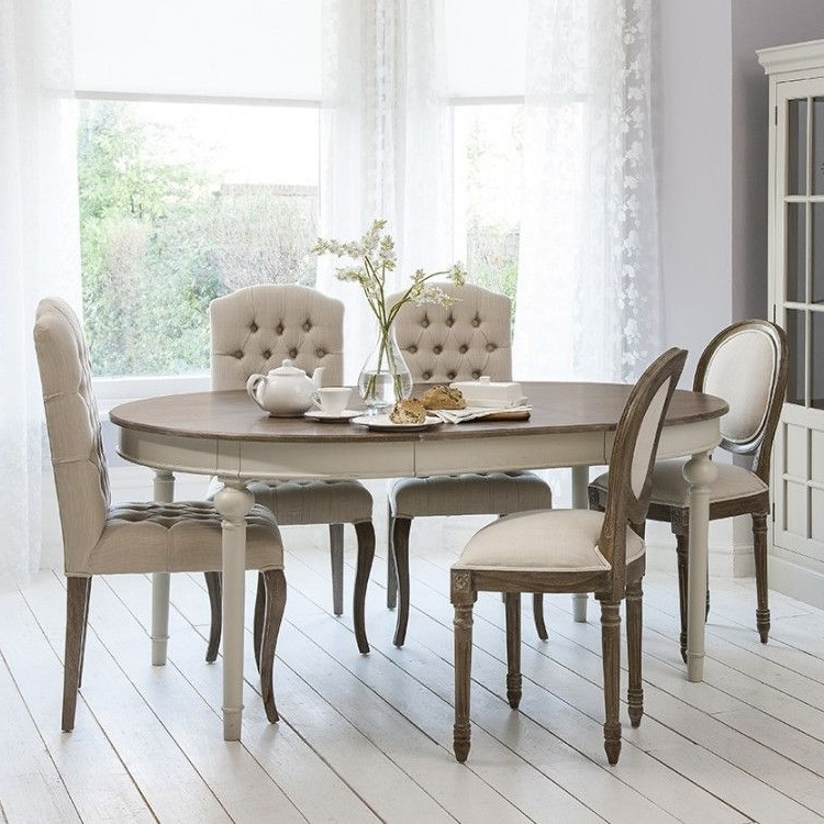 2017 Extendable Dining Room Tables And Chairs Within Round – Oval Extendable Dining Table With Natural Top – Light Grey (View 3 of 20)