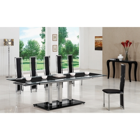 2017 Extending Glass Dining Tables And 8 Chairs With Regard To Tripod Black Extending Glass Dining Table And 8 G601 Chairs (View 1 of 20)