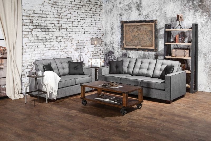 2017 Furniture Of America Sm8801 2 Pc Ravel I Gray Fabric Sofa And Love Pertaining To Marius Dark Grey 3 Piece Sectionals (View 9 of 15)