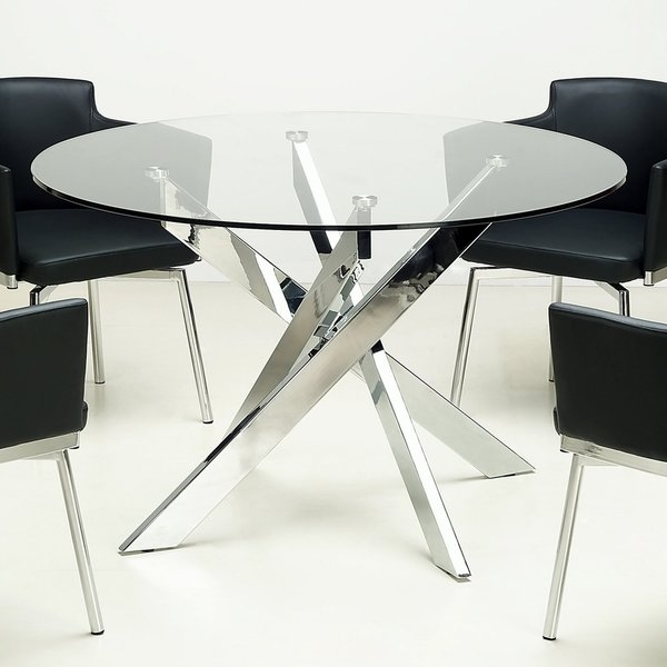 2017 Glass And Chrome Dining Tables And Chairs With Shop Somette Round Glass Top Chrome Dining Table – Free Shipping (View 12 of 20)