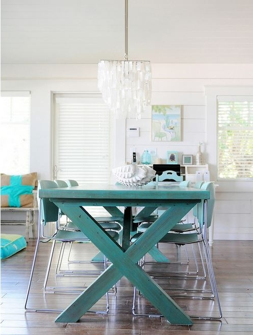 2017 Green Dining Tables Intended For Colorful Painted Dining Table Inspiration (View 15 of 20)
