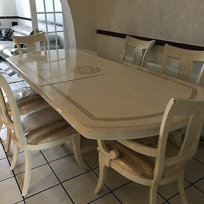 2017 High End Italian Cream Lacquered Dining Table & Chairs – £ (View 1 of 20)