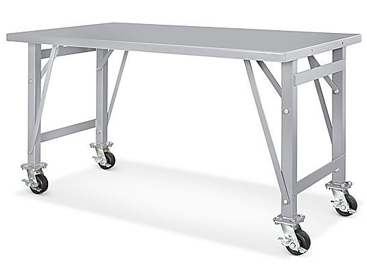 "2017 Ina Pewter 60 Inch Counter Tables With Frosted Glass Inside Steel Assembly Table – Mobile, 60 X 36"" H 5785 – Uline (View 2 of 20)"