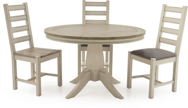 2017 Ivory Painted Dining Tables Pertaining To Vida Living Craft Grey And Ivory Painted Round (View 11 of 20)