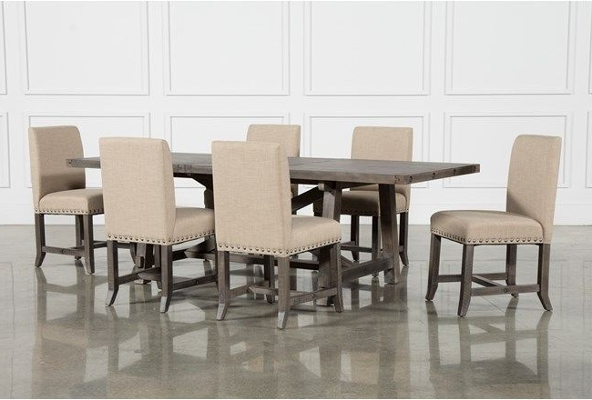 2017 Jaxon Grey 7 Piece Rectangle Extension Dining Set W/uph Chairs Intended For Jaxon 7 Piece Rectangle Dining Sets With Wood Chairs (Gallery 3 of 20)