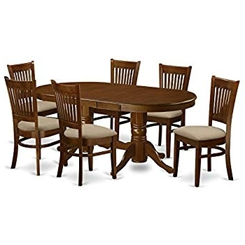 2017 Jaxon Grey 7 Piece Rectangle Extension Dining Sets With Wood Chairs Intended For Amazon: East West Furniture Avat7 Blk W 7 Piece Dining Table Set (View 18 of 20)