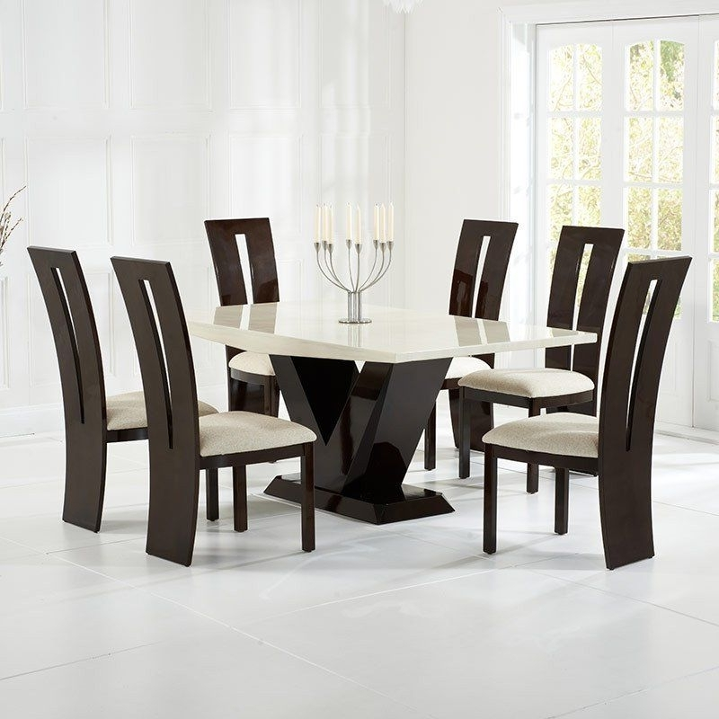 2017 Latest #marble_Dining_Table And Chairs Set (Gallery 7 of 20)