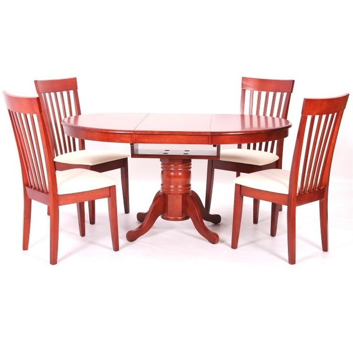 2017 Leicester Extending Dining Table + 4 Chairs Mahogany Inside Extending Dining Tables And 4 Chairs (View 1 of 20)