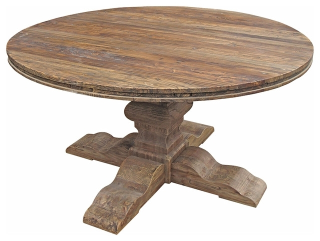 2017 Maris French Country Reclaimed Elm Round Dining Table – Traditional Within Round Dining Tables (View 1 of 20)