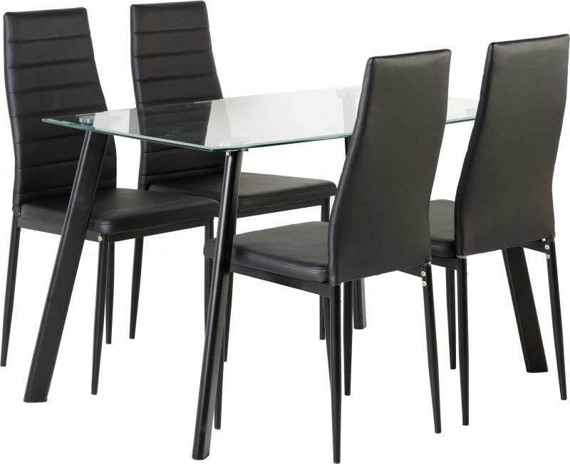 2017 New 'abbey' Clear Glass Dining Table + 4 Chairs In Black Only (View 10 of 20)