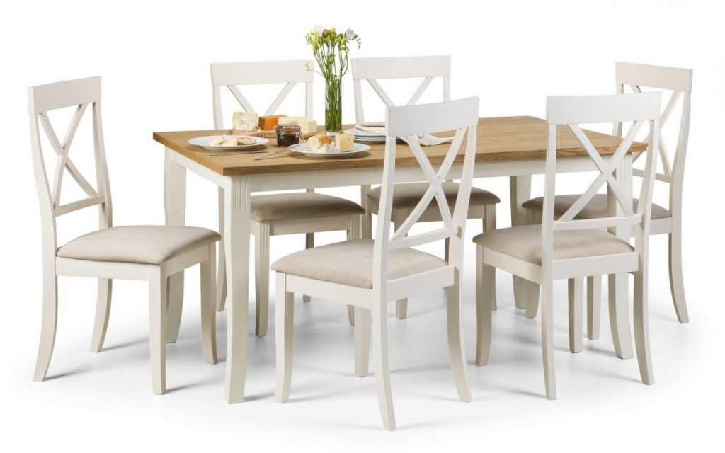 2017 Oak Dining Tables With 6 Chairs In Devon Ivory & Oiled Oak Dining Table & 6 Chairs.l150Cm X W90Cm X H75Cm (View 1 of 20)