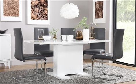 2017 Osaka White High Gloss Extending Dining Table And 4 Chairs Set Throughout Grey Gloss Dining Tables (Gallery 18 of 20)