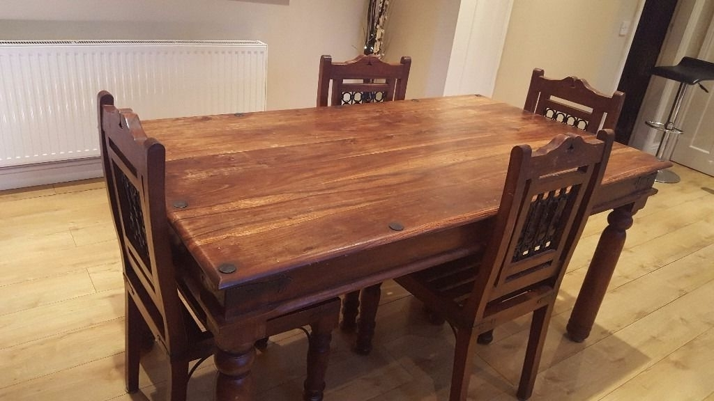 2017 Price Lowered! Indian Rosewood Sheesham Dining Table And 4 Chairs With Indian Dining Tables And Chairs (View 16 of 20)