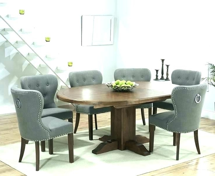 2017 Round Extendable Dining Tables And Chairs Regarding Dining Table With Fabric Chairs Solid Oak Round Extending Dining (Gallery 15 of 20)