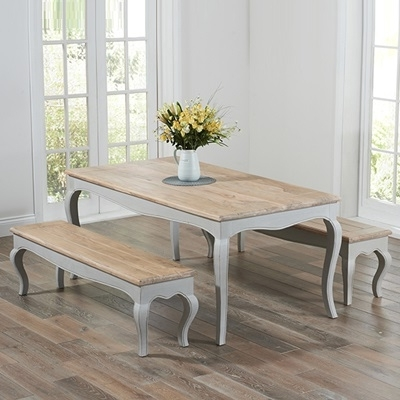 2017 Seville Grey Painted Distressed Dining Table With 2 Benches Within Dining Tables And 2 Benches (View 2 of 20)