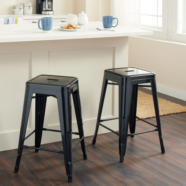 2017 Shop Tabouret 24 Inch Black Metal Counter Stools (Set Of 2) – Free Intended For Valencia 4 Piece Counter Sets With Bench & Counterstool (Gallery 2 of 20)