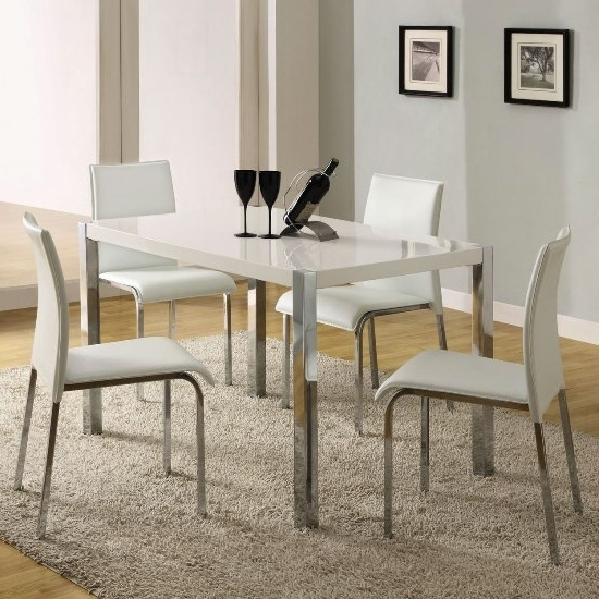 2017 Stefan High Gloss White Dining Table And 4 Chairs 4668 Pertaining To Gloss White Dining Tables (View 1 of 20)