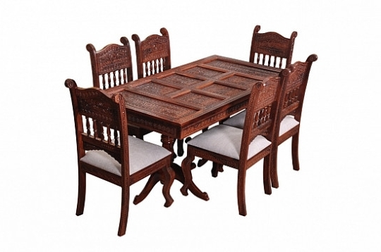 2017 Tables Chairs – Maharaja Dining Table Set Of 6 Chair Fusion Of Regarding Indian Wood Dining Tables (Gallery 11 of 20)