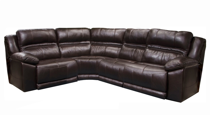 2017 Tess 2 Piece Power Reclining Sectionals With Laf Chaise Inside Bergamo 4 Piece Power Lumbar Reclining Sectional In Chocolate (View 14 of 15)