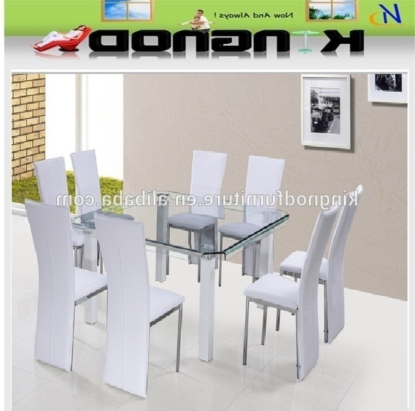 2017 Tianjin Funiture Supplier 8 Seater Space Saving Curve Tempered Glass In 8 Seater Dining Tables And Chairs (View 1 of 20)