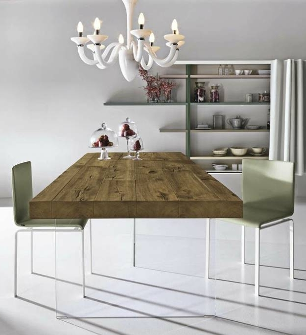 2017 Unique Dining Table Mixing Glass And Solid Wood Furniture Design With Wooden Glass Dining Tables (View 1 of 20)