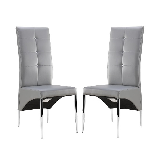2017 Vesta Studded Dining Room Chair In Grey Faux Leather In A Inside Grey Leather Dining Chairs (Gallery 6 of 20)