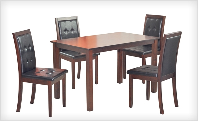 2017 Wagjag: $399 For A 5 Piece Kristin Dining Set (A $799 Value) In Kirsten 5 Piece Dining Sets (Gallery 7 of 20)
