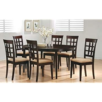 2018 Amazon – 7 Piece Dining Set In Rich Cappuccino – Coaster – Table With Rocco 7 Piece Extension Dining Sets (Gallery 4 of 20)