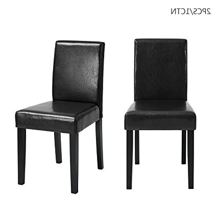 2018 Amazon – Furniturer Set Of 2 Dining Chairs Black Pu Leather Throughout High Back Dining Chairs (Gallery 17 of 20)