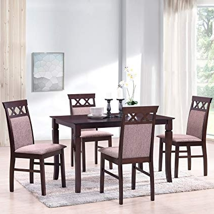 2018 Amazon: Merax Harper&bright Designs 5 Piece Dining Set Rubber Within Harper 5 Piece Counter Sets (Gallery 4 of 20)