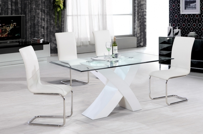 2018 Arizona Dining Set – White Gloss – Glass Dining Sets Intended For Glass And White Gloss Dining Tables (View 6 of 20)