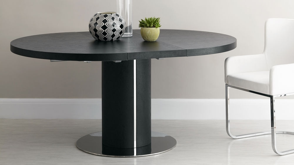 2018 Black Dining Tables Within Black Ash Round Extending Dining Table (View 1 of 20)