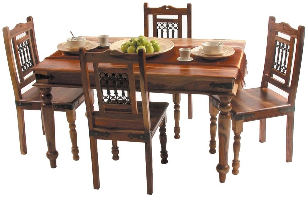 2018 Buy Jaipur Jali Sheesham Small Dining Set With 4 Chairs – 135Cm Pertaining To Sheesham Dining Tables And 4 Chairs (View 12 of 20)