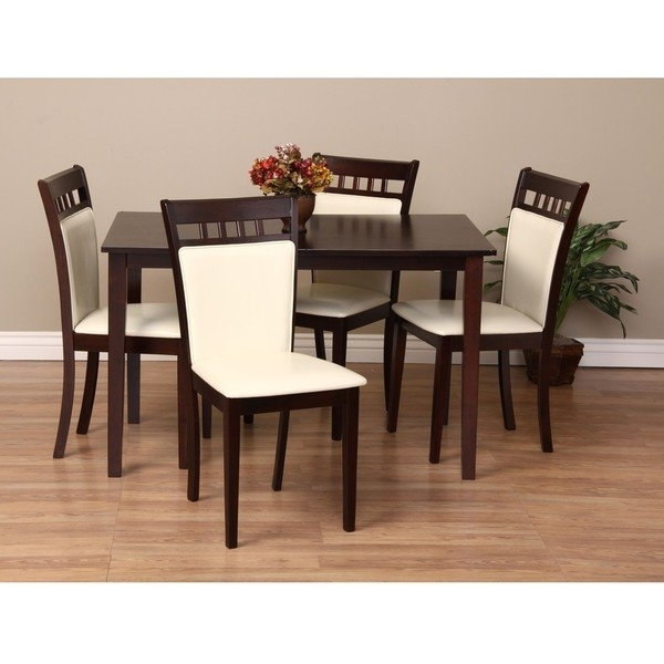 2018 Caden 5 Piece Round Dining Sets With Upholstered Side Chairs Pertaining To Warehouse Of Tiffany Shirlyn 5 Piece Dining Furniture Set – Free (Gallery 16 of 20)