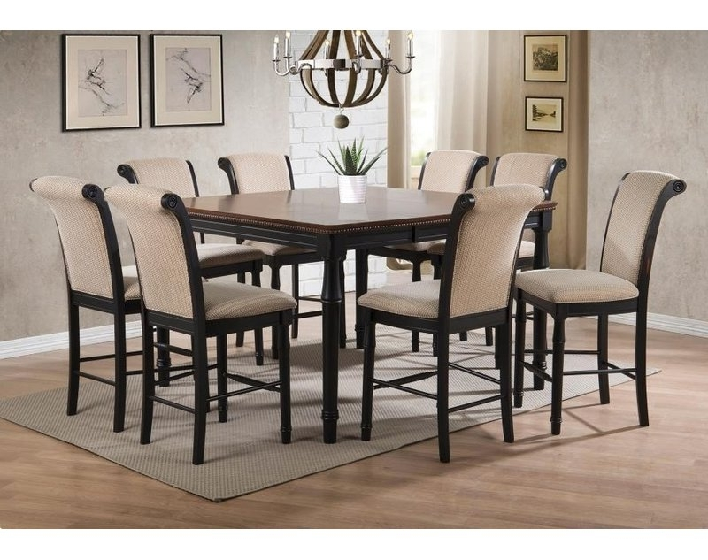 2018 Canora Grey Vianden 9 Piece Counter Height Solid Wood Dining Set Regarding Norwood 6 Piece Rectangular Extension Dining Sets With Upholstered Side Chairs (Gallery 15 of 20)