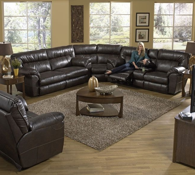 2018 Catnapper Nolan 404 Bonded Leather Godiva Sectional Available At T Intended For Travis Cognac Leather 6 Piece Power Reclining Sectionals With Power Headrest & Usb (View 8 of 15)