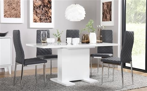 2018 Chrome Dining Tables And Chairs For High Gloss Dining Table & Chairs – High Gloss Dining Sets (View 1 of 20)