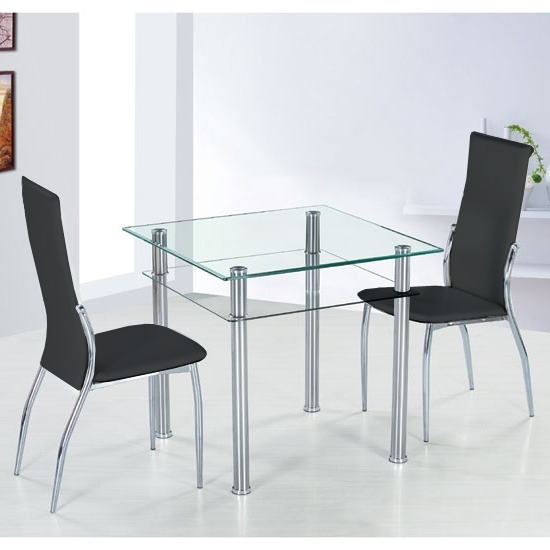 2018 Como Dining Tables Inside Como Square Glass Dining Table And 4 Black Pisa Dining (View 3 of 20)