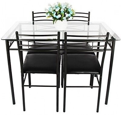 2018 Delfina 7 Piece Dining Sets With Dining Table Set, Vecelo 5Pc Glass Table And 4 Chair Sets Metal (View 1 of 20)