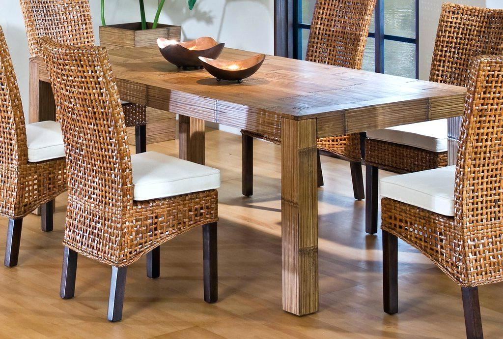 2018 Dining Room Square Rattan Dining Table Wicker Wood Dining Chairs Pertaining To Rattan Dining Tables (View 1 of 20)