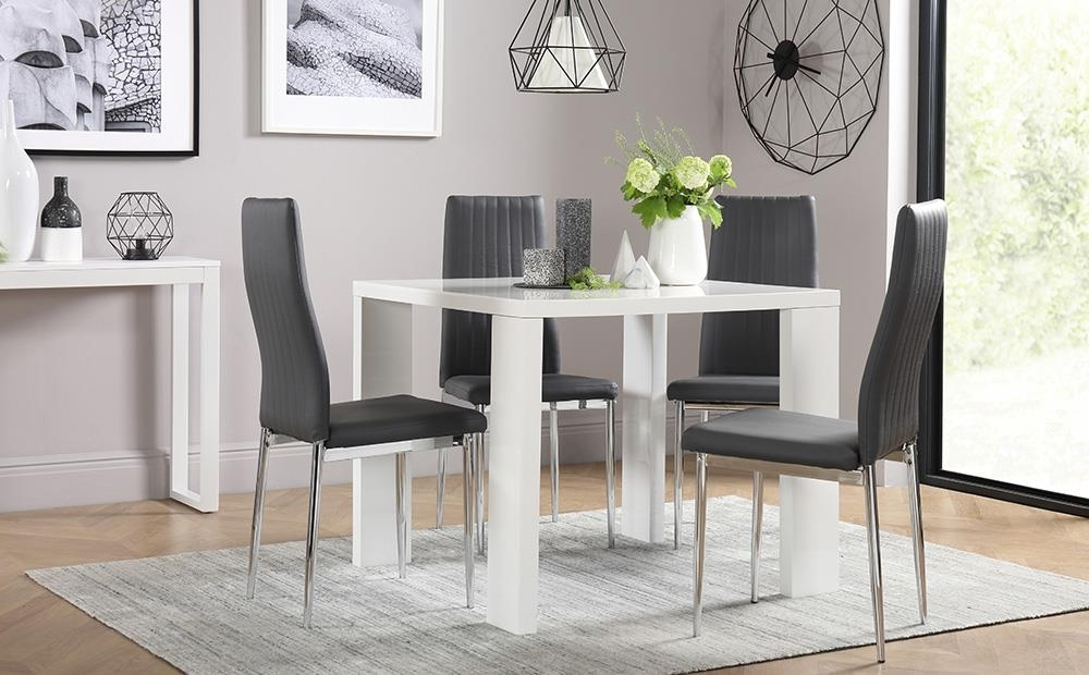 2018 Eden Square White High Gloss Dining Table With 4 Leon Grey Chairs (View 10 of 20)