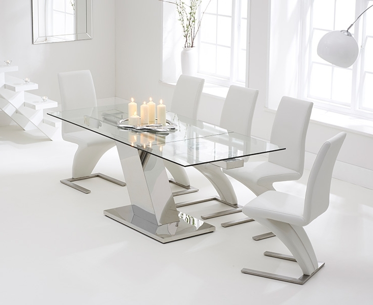 2018 Extending Glass Dining Tables And 8 Chairs With Regard To Luna 140Cm Extending Glass Dining Table With Hampstead Z Chairs (View 2 of 20)