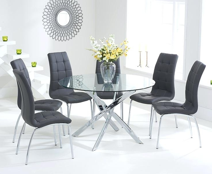 2018 Glass Dining Tables With 6 Chairs Regarding Glass Table For 6 Black Glass Table And 6 Chairs Ebay Round Glass (View 15 of 20)