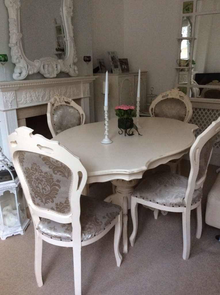 2018 Gorgeous! French Louis Shabby Chic Cream Dining Table 4 Chairs Inside Shabby Dining Tables And Chairs (View 4 of 20)
