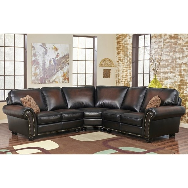 2018 Haven Blue Steel 3 Piece Sectionals In Shop Abbyson Melrose Bonded Leather 3 Piece Sectional – Free (View 13 of 15)