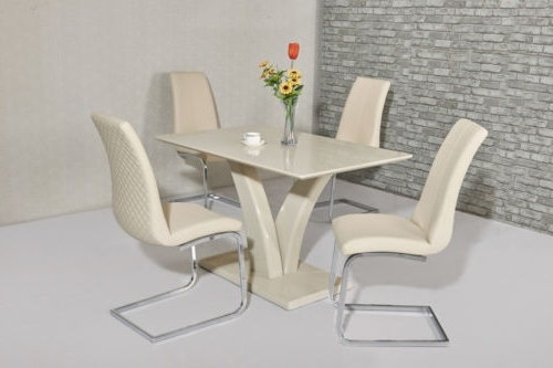 2018 High Gloss Cream Dining Tables Pertaining To Cream High Gloss Dining Table And 4 Cream Chairs (View 1 of 20)