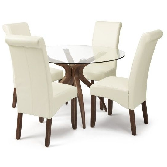 2018 Jenson Glass Dining Table And 4 Ameera Chair In Cream Pu Leather Within Glass Dining Tables And Leather Chairs (View 1 of 20)