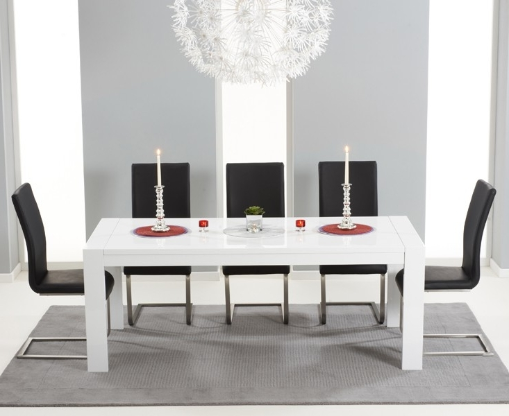 2018 Large White Gloss Extending Table 3 M 12 Seater Regarding White Gloss Dining Room Tables (Gallery 16 of 20)