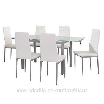 2018 Luxury Dining Table Set Extendable Glass Dining Table And 6 Chairs Within Extendable Glass Dining Tables And 6 Chairs (View 4 of 20)